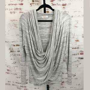 Renee C Draped Front Shirt Gray Stripe Long Sleeve
